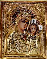 Икона с позолотой Казанская Божья Матерь