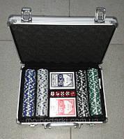Покерный набор в алюминиевом кейсе 200 фишек (2 колоды карт + 200 фишек)(30Х22Х7 см)