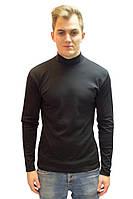 Теплый мужской гольф водолазка с высоким горлом стойка черный интерлок (Украина)