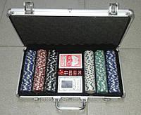 Покерный набор в алюминиевом кейсе 300 фишек (2 колоды карт + 300 фишек)(38Х22,5Х6,5 см), фото 1