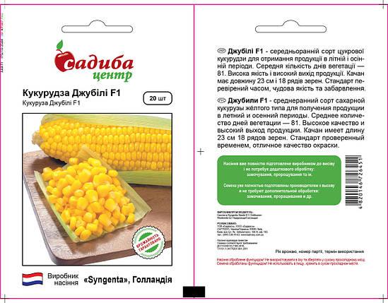 Семена кукурузы Джубили F1 (Syngenta, САДЫБА ЦЕНТР), 20 шт - среднеспелая (80 дней), сладкая, фото 2