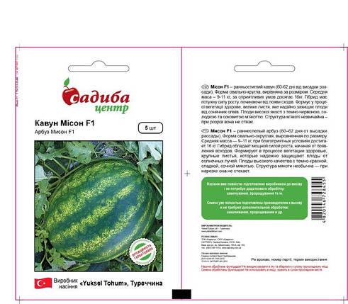Семена арбуза Мисон F1 (Yuksel Seeds / САДЫБА ЦЕНТР) 5 сем - ранний гибрид (60-62 дн),овально-круглый, 9-11 кг, фото 2