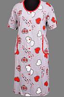 Длинный халат домашний женский больших размеров на молнии (100% хлопок) короткий рукав, с карманами Украина