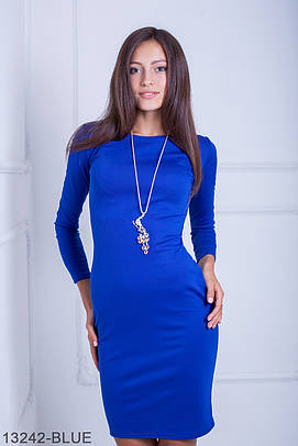 Класичне трикотажне синє плаття Oreana (S-XXL)