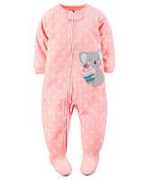 Пижама-человечек флис для девочек 2, 3, 4, 5 лет Koala bear appliqué Carter's (США)