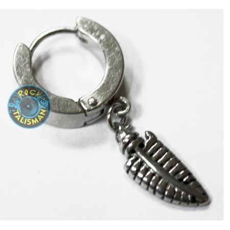 Серьга-кольцо - SP-21 - с подвеской-пером