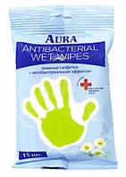 Влажные салфетки для детей антибактериальные  Aura Ромашка 15шт (4607068628212)