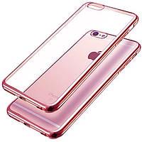 Силиконовый чехол (силиконовая накладка, бампер) Utty Electroplating TPU на IPhone 5/5S/SE Pink
