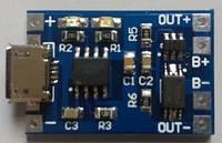 Контроллер для зарядки TP4056 литий-ионных батарей, Micro USB 1A Li-ion с защитой