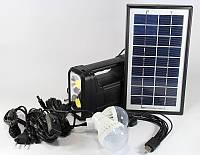 Переносной фонарь с аккумулятором GD-8037: солнечная панель, 2 лампы, USB кабель на 10 переходников