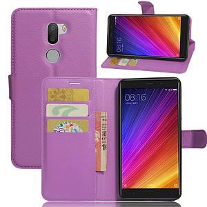 Чехол книжка для Xiaomi Mi 5s Plus боковой с отсеком для визиток, фиолетовый