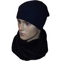 Мужская вязаная шапка - носок объемной вязки и шарф - снуд