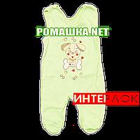 Ползунки высокие с застежкой на плечах р. 62 демисезонные ткань ИНТЕРЛОК 100% хлопок ТМ Алекс 3143 Зеленый1