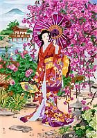 Схема для вышивки бисером POINT ART Гейша и сакура, размер 23х33 см
