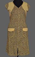 Длинный халат домашний женский на молнии (100% хлопок) короткий рукав, с карманами Украина