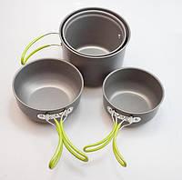 Походный набор  посуды из анодированного алюминия. Компактный, легкий и удобный комплект. Код: КГ136