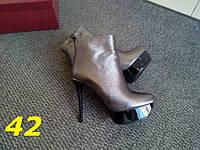 Женские стильные ботильоны серебро на шпильке, 36 40р