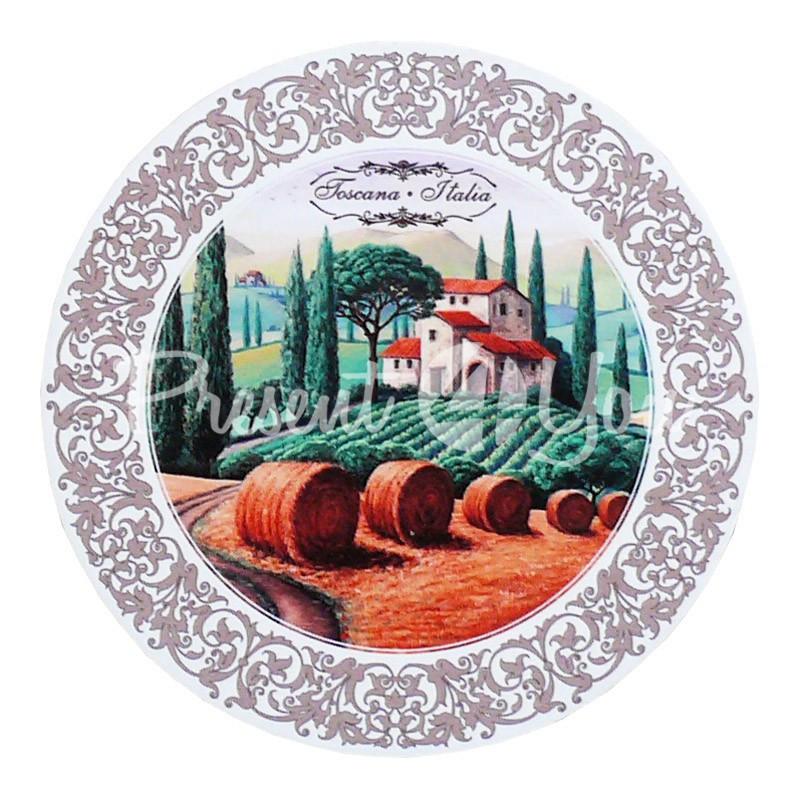 Деревянная круглая подставка под горячее «Тоскана. Италия», d-19 см.
