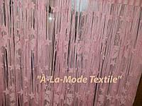 Тюль для кухни готовая, светло розовая виноградный листик