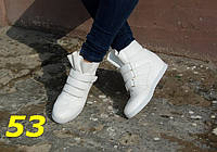 Женские стильные белые сникерсы на липучках, 40 41р