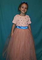 Детское нарядное платье персикового цвета с камнями