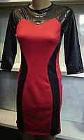 Женское комбинированное платье с эко кожей
