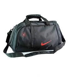 Спортивная сумка Nike черная с красным логотипом (реплика)