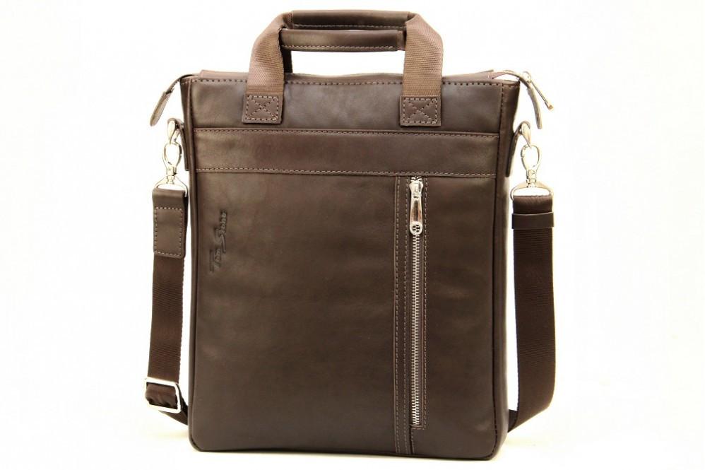 Кожаная мужская сумка с ручками Tom Stone
