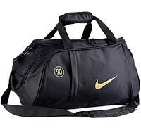 Спортивная сумка Nike черная с золотистым логотипом