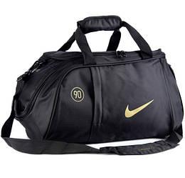 Спортивная сумка Nike черная с золотистым логотипом (реплика)