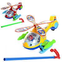 Каталка 362 (60шт) на палке, вертолет, звук, 2 цвета, в кульке, 26-14-12cм