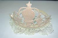 Фетровая коронка на обруче с кружевом кремовый