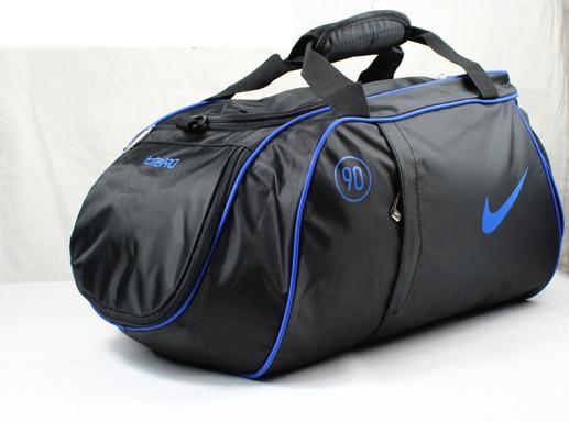 Спортивна сумка Nike чорна з синім логотипом (репліка)