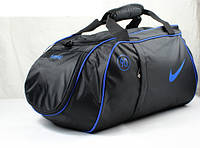 Спортивная сумка Nike черная с синим логотипом
