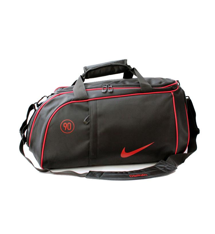 ccd0aa9a0b67 Спортивная сумка Nike черная с красным логотипом (реплика) -  Интернет-магазин оригинальных кепок