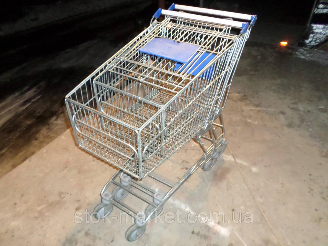 Торговые тележки 120 Л. бу, тележки для покупателей б у, тележки бу.