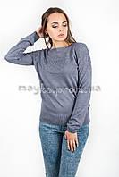 Кофта пуловер женская трикотаж с узорами джинс р.48-50