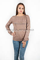Кофта пуловер женская трикотаж с узорами капучино р.48-50