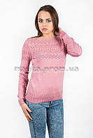 Кофта пуловер женская трикотаж с узорами пудра р.48-50