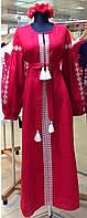 Вышитое платье длинное с пышными рукавами геометрия, фото 1