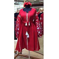 Червона вишита сукня з клинами на рукавах вишивка дерево