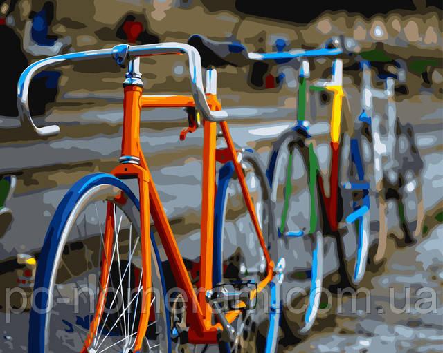 Живопись по номерам без коробки Разноцветные велосипеды