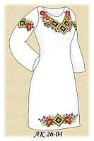 Заготовка женского платья для вышивания АК 26-04 Летние Розы