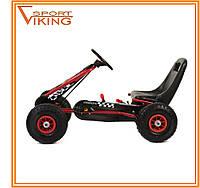 Карт детский железный, педальная машина, надувные колеса (красный)