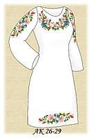 Заготовка женского платья для вышивания АК 26-29 Розовый шиповник