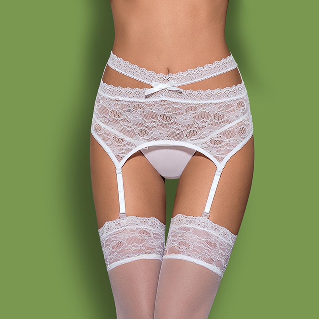 Белый кружевной пояс Obsessive Swanita garter belt white