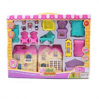 Игрушечный домик в наборе с куклами и мебелью