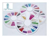 Бисер бисер бульон пластиковый в карусели для декора ногтей YRE, разноцветный