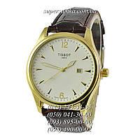 Модные мужские наручные часы Tissot 1853 Classic Quartz Brown-Gold-Gold
