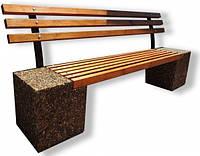 Скамейка «Парковая» со спинкой Галька коричневая